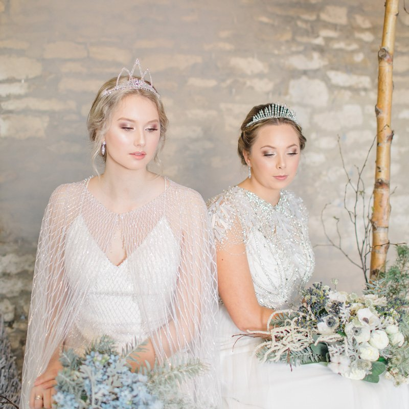 winter bridal hair and makeup bride and bridesmaid